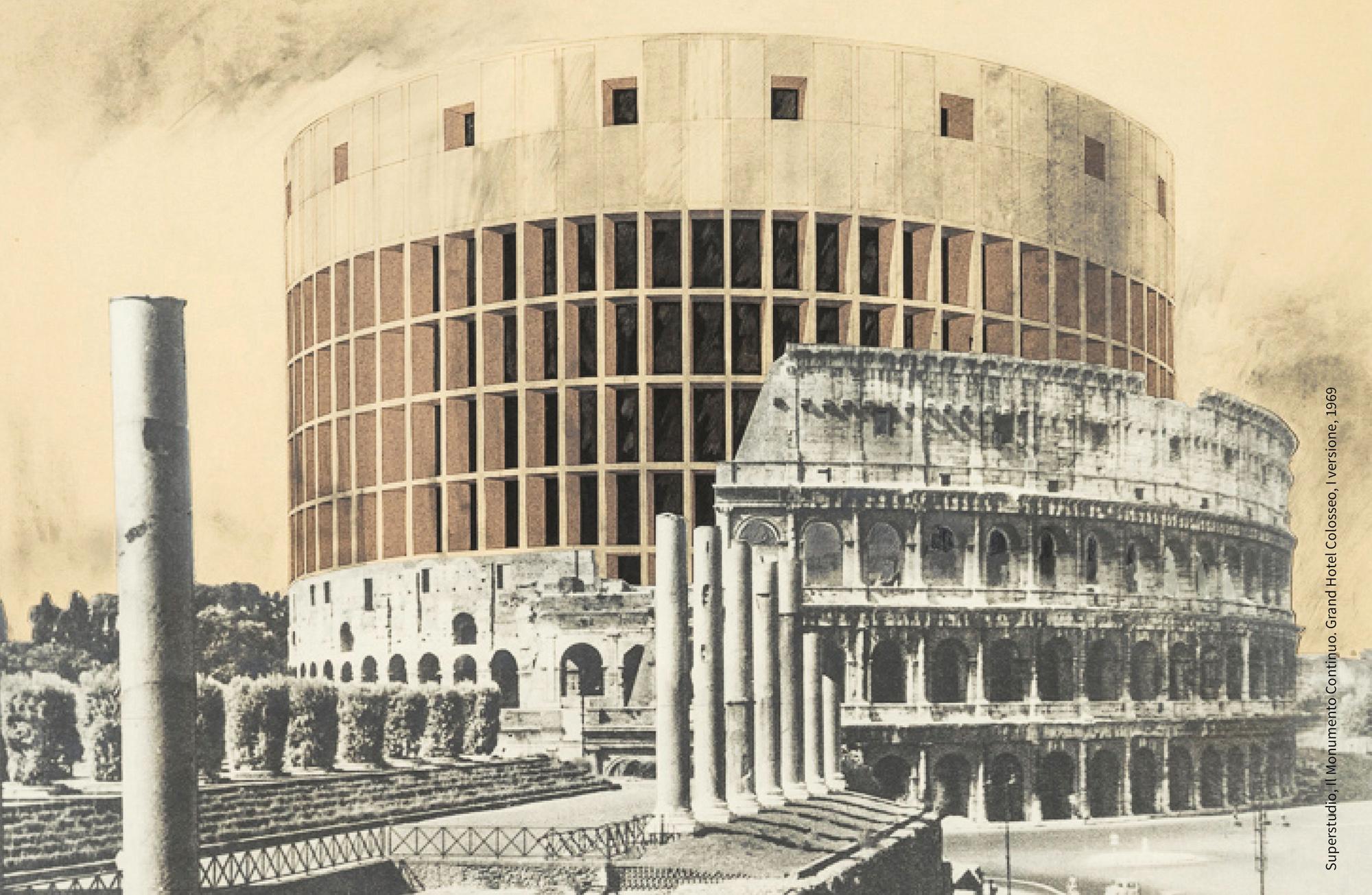 Superstudio, Il Monumento Continuo, Grand Hotel Colosseo, 1969, fotomontaggio, courtesy Fondazione MAXXI