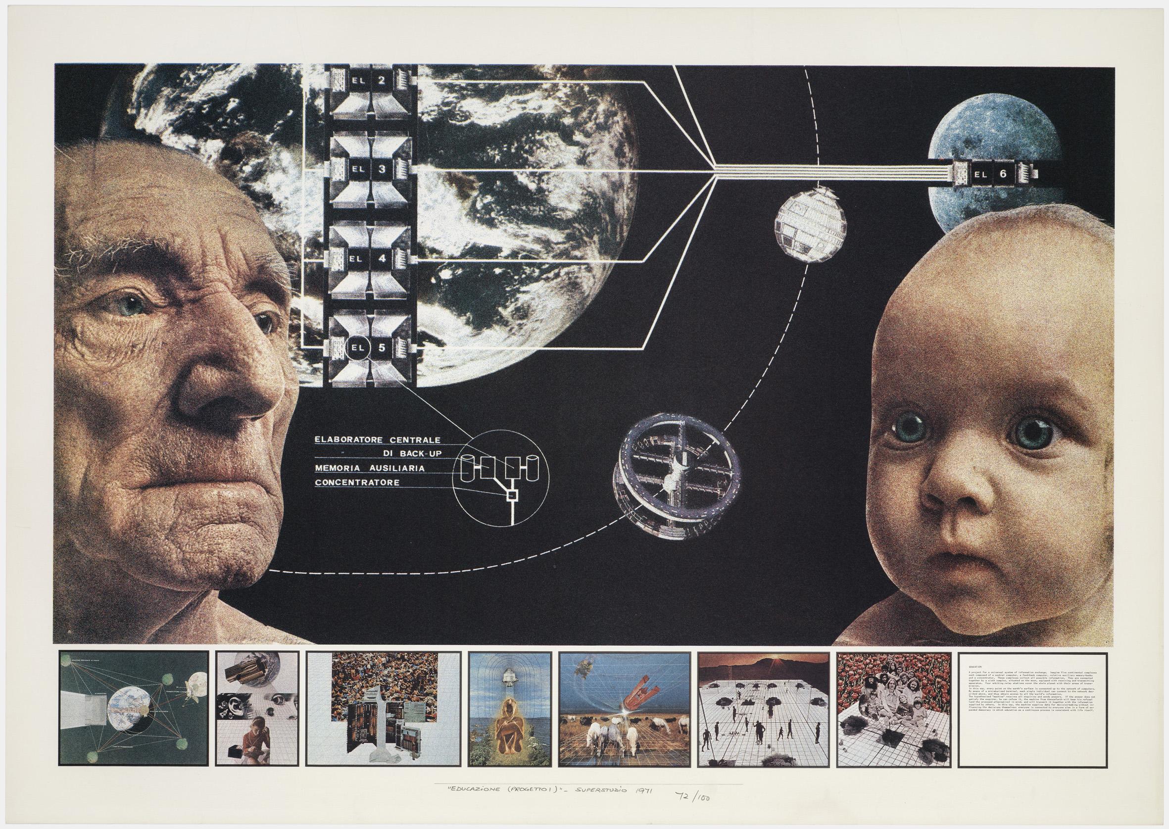 Superstudio, Atti Fondamentali. Educazione. Progetto 1, 1971, litografia, courtesy Fondazione MAXXI