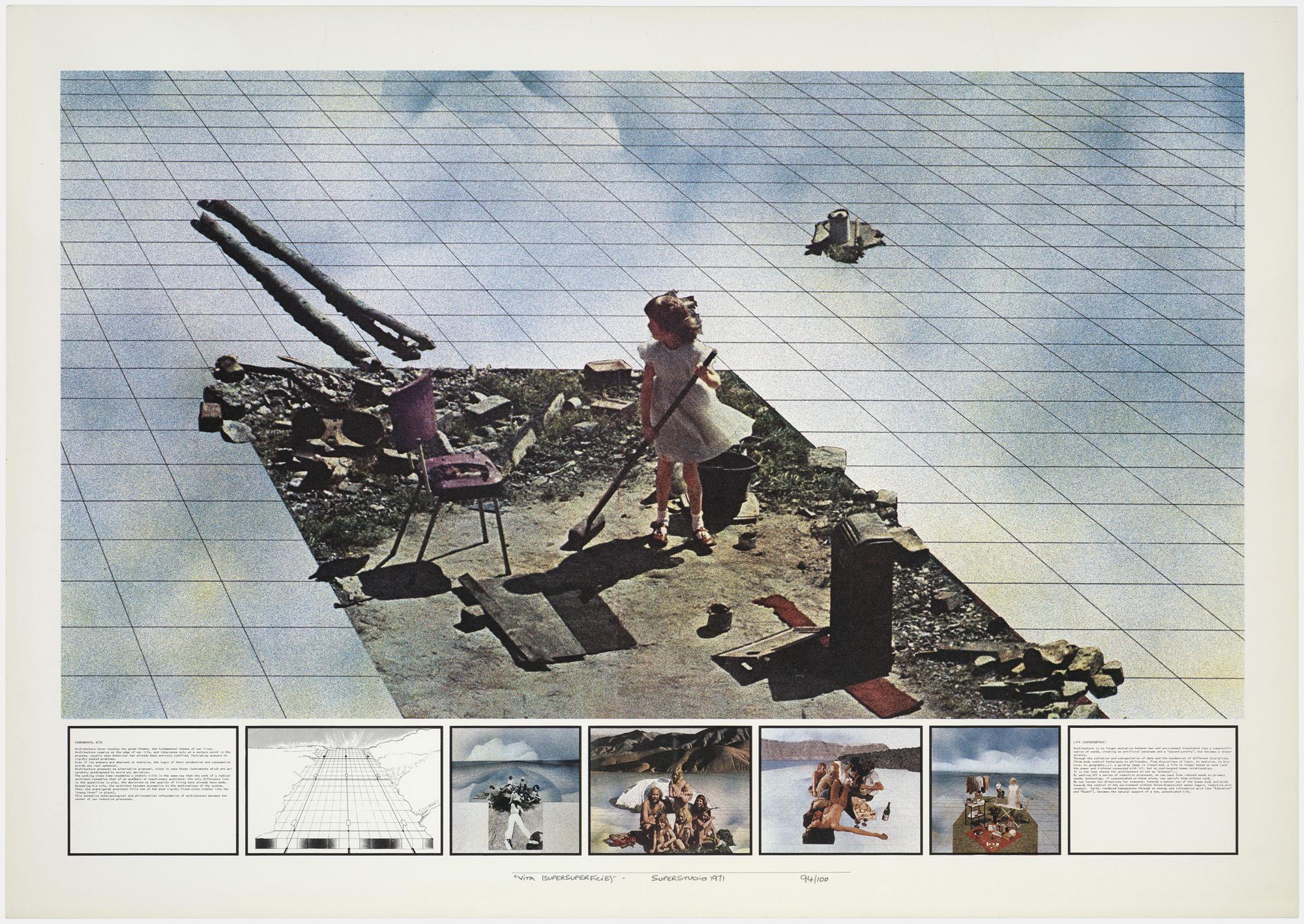Superstudio, Atti Fondamentali. Vita - Supersuperficie. Pulizie di primavera, 1971, litografia, courtesy Fondazione MAXXI