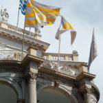 Flag (Greece), 2016 | Flag (Europe), 2016 | Flag (Shadow), 2016, satin, 288.5 x 189 cm. Photo: Paris Tavitian © Museum of Cycladic Art
